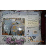 Country Cottage Reversible Comforter Queen White with Purple Blue Flower... - $40.17