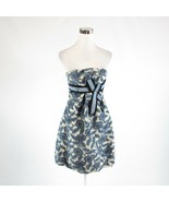 Blue beige abstract linen blend BCBG MAX AZRIA sleeveless bubble dress 2 - $39.99