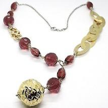 Halskette Silber 925, Ovale Satin, Groß Kugel Strick, Kugel Violet - $186.69