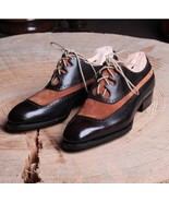 Vintage Black Brown Two Tone Genuine Leather Lace Up Oxford Handmade Men... - $139.90+