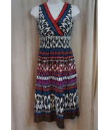 "Charter Club Petite Dress Sz 10P Cocoa Brown Multi ""Tunisia"" Boho Crinkl... - €35,56 EUR"