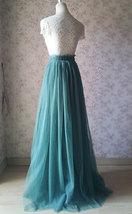 MISTY GREEN Full Long Tulle Skirt Misty Green Floor Length Bridesmaid Skirt image 5