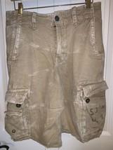 American Eagle Mens Sz 30 Longer Length Khaki Cargo Shorts Raw Hem - $17.79