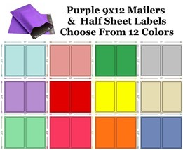 9x12 ( Purple ) Poly Mailers + Colored Half Sheet Self Adhesive Shipping... - $2.99+