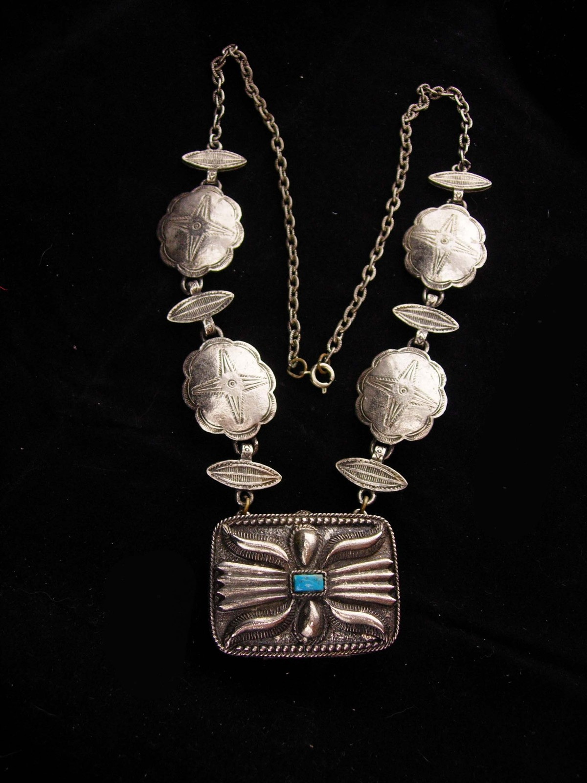 Vintage Perfume Necklace / southwestern concho / Estee lauder / Youth dew solid