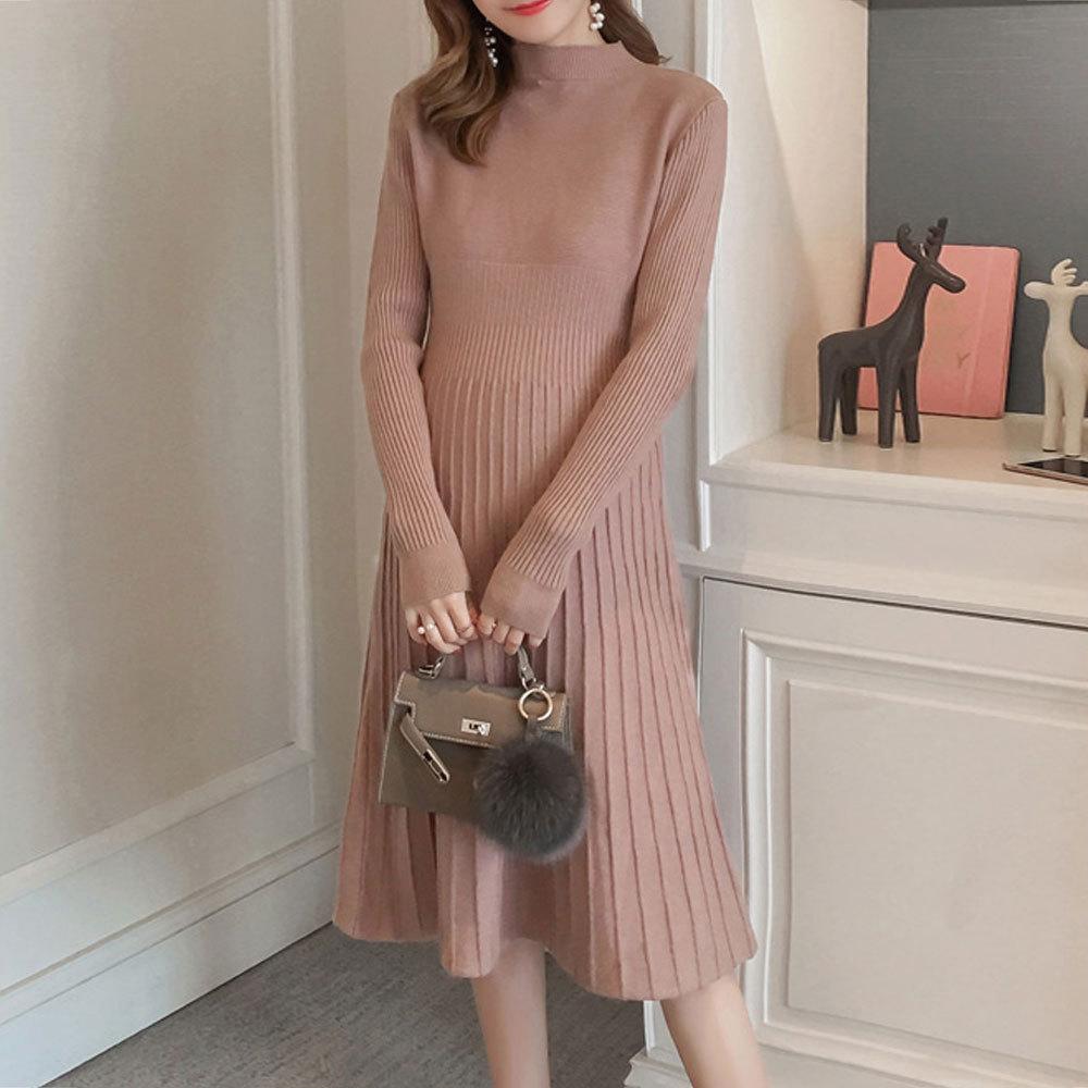 Maternity's Aline Dress Slim Long Sleeve Solid Color Dress image 3