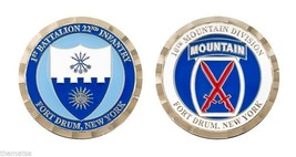 "ARMY FORT DRUM NEW YORK 10TH MOUNTAIN DIVISION 1.75"" CHALLENGE COIN - $16.24"
