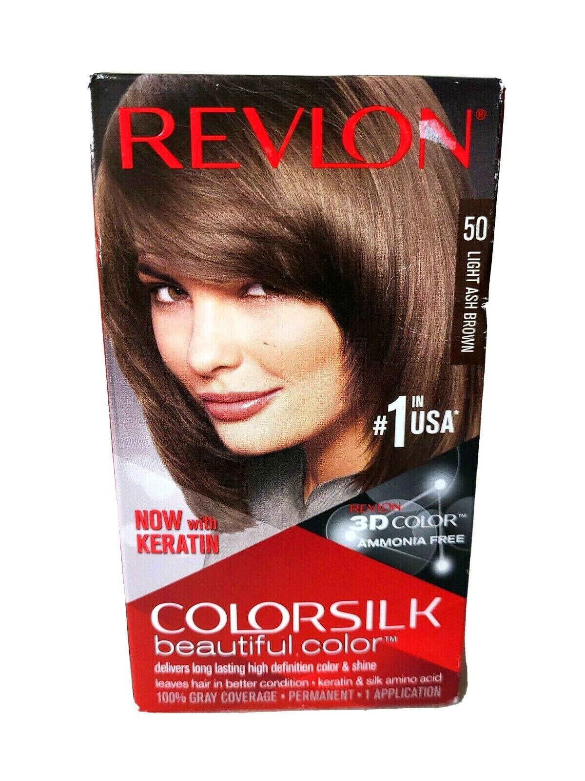 Revlon Colorsilk 3D Pelo Color con Queratina sin Amoníaco #50 Luz Ash Marrón 8 - $8.45