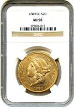 1889-CC NGC AU58 - Looks Prooflike - Liberty Double Eagle - Gold Coin - $10,291.36