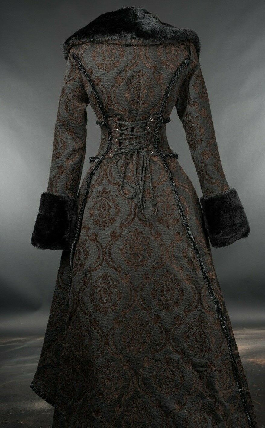 Brown Evil Queen Brocade Goth Victorian Long Winter Corset-Back Steampunk Coat