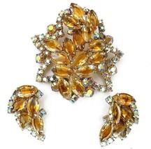 Vintage Juliana Brooch Earrings Set Layered Golden Topaz & AB Rhinestone - $99.95
