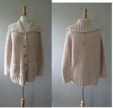 Talbots chunky knit beige oatmeal cardigan XL petites new - $55.43