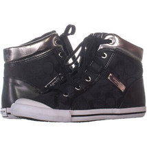 Coach Freesia Lace Up High Top Logo Sneakers 606, Black/pewter, 7.5 US - $63.35
