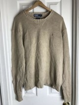 Polo Ralph Lauren Pony Logo Linen Blend Crewneck Sweater XL Beige EUC - $24.70