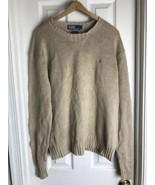 Polo Ralph Lauren Pony Logo Linen Blend Crewneck Sweater XL Beige EUC - $24.70