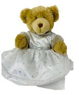 "Build A Bear Plush Brown Furry 15"" Teddy in White Sparkle Dress Stuffed ... - $16.00"