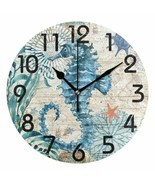 "Nice Wall Clock 9.5"" Seahorse Colorful Vintage Style Coastal Beach House - $39.00"