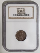 1910S LINCOLN PENNY CENT COIN NGC ms62BN LOT# E 251