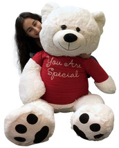 Giant Teddy Bear 48 Inch White Soft New, Wears Removable T-shirt You Are... - $97.11