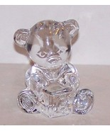 LOVELY SIGNED WATERFORD CRYSTAL TEDDY BEAR HOLDING ALPHABET BLOCK FIGURINE - $23.55