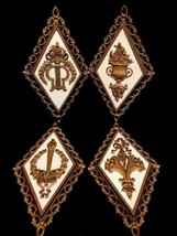 Set Of 4 Hollywood Regency Decor Ornate Gold Wall Plaques Homco USA 1971... - $27.76