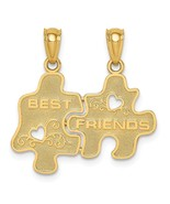 14k Yellow Gold Best Friends Puzzle Pieces Break-apart Charm Pendant 0.8... - $120.05