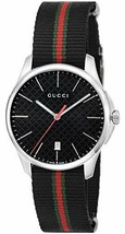 GUCCI Quartz G-Timeless Black Dial Men's Watch Nylon Belt YA126321 - $1,216.35