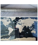 Scratch Off World Map Travel Large Black & Gold + Memory Stickers Scratc... - $17.50