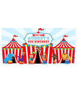 Circus Tent Big Top Carnival Birthday Banner Personalized Party Backdrop - $36.14+