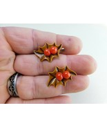 Vintage Earrings Screw-Back Brown Holy Leaves With Berries A10 - $9.89