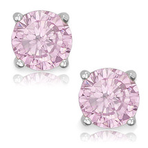 Round Cut Cubic Zirconia CZ Rose Crystal Sterling Silver October Basket Studs - $14.84+