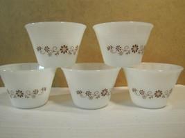 Vintage Set of 5 Milk Glass Dynaware Pyr-O-Rey Brown Daisy Custard Cups - $16.27