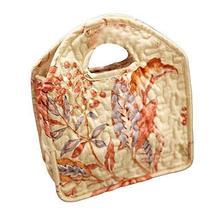 PANDA SUPERSTORE Floral Lunch Tote Bag Cotton Picnic Bag Reusable Lunch Bag Open