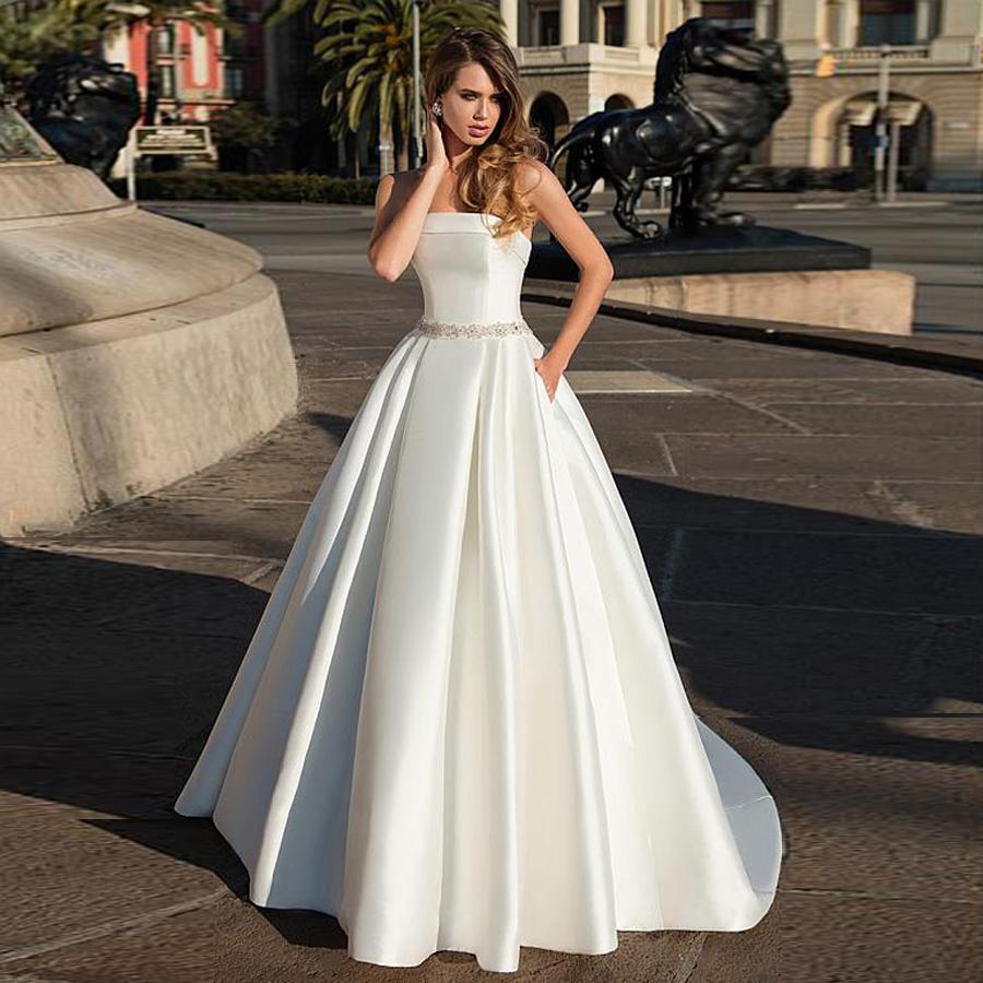 Ate satin stapless neckline a line bridal dress open back beading sash wedding dress with pocket