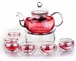 Borosilicate Glass Tea Pot Set Infuser Teapot Warmer 6 Double Wall Tea C... - £26.39 GBP