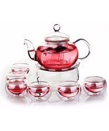 Borosilicate Glass Tea Pot Set Infuser Teapot Warmer 6 Double Wall Tea C... - ₨2,655.94 INR