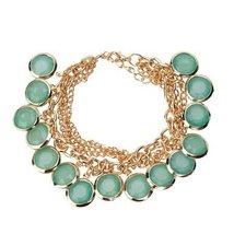 Inspired Silver Emerald Green Mint Multi Sleek Gold Chain Linked Adjusta... - $19.55