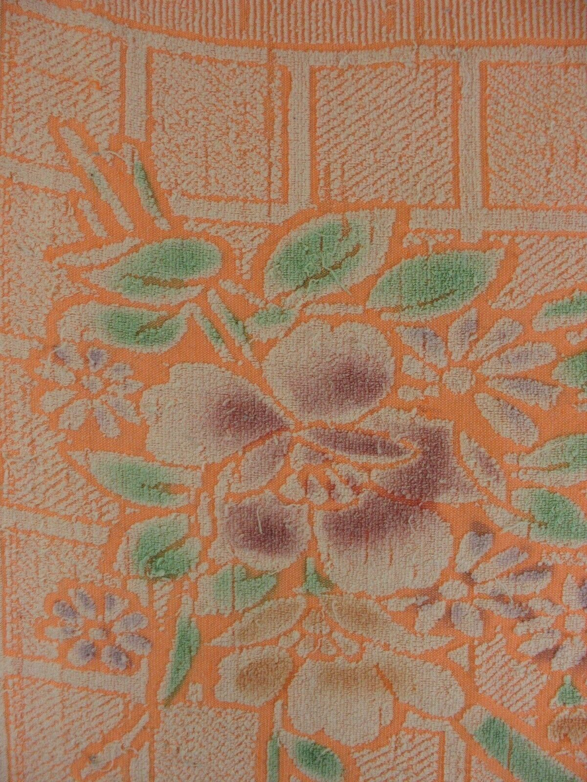 Unitex Intl Vintage Bath towel Neon Orange Floral image 2
