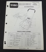 Toro CR 20 Snow Thrower Parts Catalog Manual Model 38110C 38116C 38115C 7900001 - $12.99