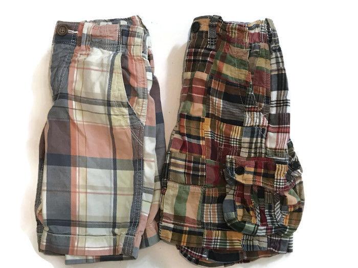 Gap Plaid Madras Shorts Lot Boys Size 6 2 Pairs Bermuda Board
