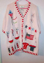 Vintage QUACKER FACTORY Size 2X SWEATER Cardigan PATRIOTIC Button EMBELL... - $28.65