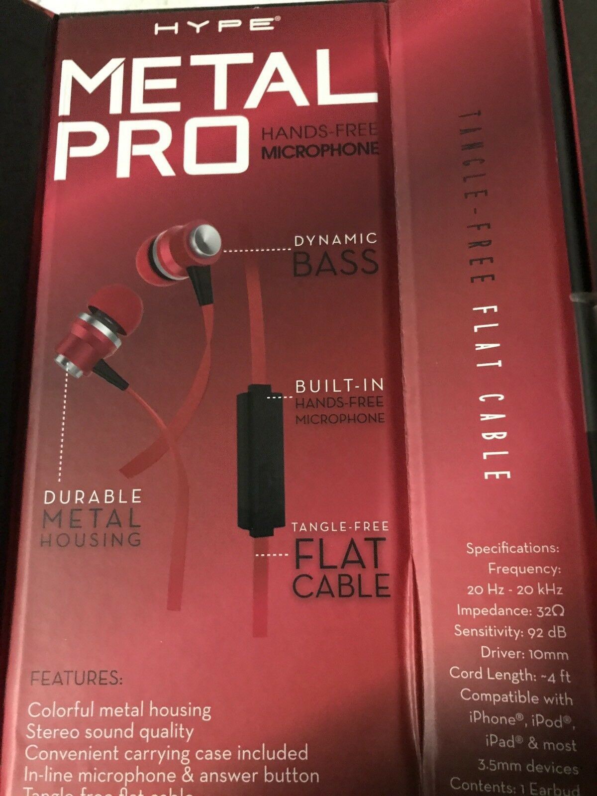 Wired Earphones  RED Brand New HYPEMetal Pro