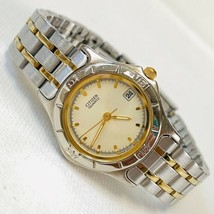 "Vintage 90's Citizen Two Tone Silver Gold Women's 6.25"" Watch 6010-S54686 WORKS! - $29.65"