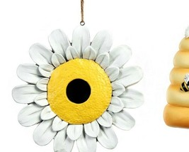 Beehive or Daisy Hanging Birdhouse Poly Stone Yellow & White 2 Choices image 2