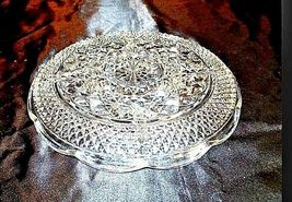 Cut Glass 5 Partition Serving Tray with Diamond Design AA18-11814Vintage Heavy image 3
