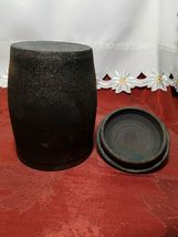 """VINTAGE HAND TURNED COVERED CLAY CANISTER / HUMIDOR 6.5"""" TALL WITH LID image 4"""
