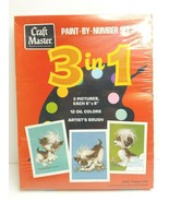 Craft Master 3 In 1 VTG Paint By Number Puppy Love 70s Retro 3 Art Pictu... - $49.49