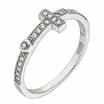 Womens 925 Sterling Silver Cubic Zirconia Pave Cross 5.7mm Ring (8) - $25.01