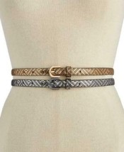 INC Women's Gold / Silver Metallic Textured 2 For 1 Skinny Belts Size L - $8.56