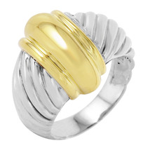 David Yurman Sterling Silver 18KT Gold Ring Size 5.5 446 - $375.00